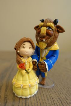 Beauty and The Beast Miniature Cute Art Inspiration Disney Baby Princess Party, Baby Shower Handmade Decorations, Wedding, Cake Topper by PlayCraft on Etsy https://www.etsy.com/listing/227287162/beauty-and-the-beast-miniature-cute-art