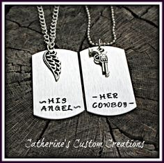 Her Cowboy His angel  Couples Dog Tag Set In Brushed Aluminum - New Materials  - New style -   by CatsCustomCreations, $20.00   on www.etsy.com