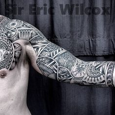 Tattoo Paradise - Polynesian/geometric sleeve (healed)