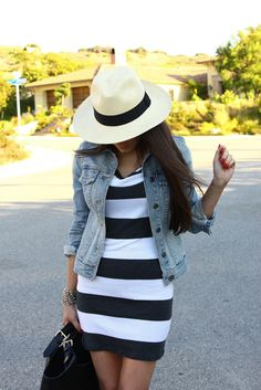 Stripe dress, jean jacket and panama hat