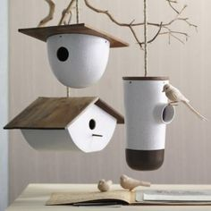 Modern form meets traditional materials in the Bodega Birdhouses.
