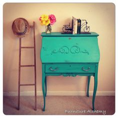 Turquoise Antique Secretary Desk-shabby chic furniture, chalk painted furniture, distressed on Etsy, $335.00