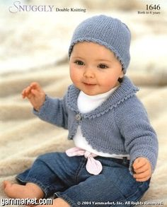 Baby bolero and hat knitted