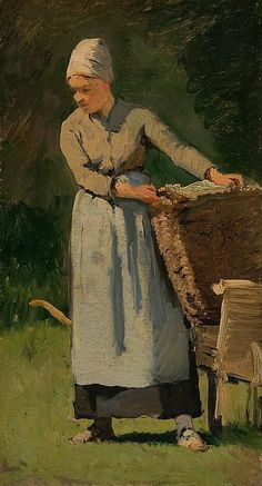 Frank Buchser - Girl with laundry basket