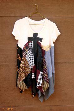 Goth Grunge Shirt for Fall, Shabby Chic Romatic, Junk Gypsy Style