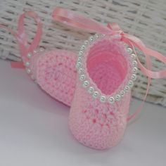 Crochet pink bootiesMary Jane