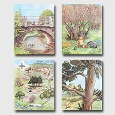 Set of 4 Winnie the Pooh Art Classic Nursery Wall Decor Baby Room Prints Winnie Has Fun  Unframed *** Check out the image by visiting the link. (Note:Amazon affiliate link)