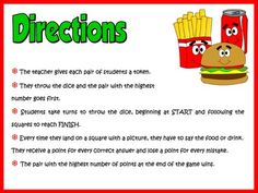 Food and Drinks - Board Game Directions