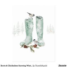 Boots & Chickadees Snowing Winter Woodland Scene Postcard Holiday Cards, Christmas Cards, Holiday Decor, Chickadees, Christmas Card Holders, Postcard Size, Christmas Stockings, Woodland, Scene