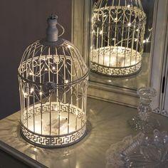 Shabby Chic Bird Cage with Warm White Wire Light, 36cm