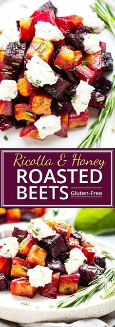 Oven-Roasted Beets with Honey Ricotta | An elegant but super easy side dish, these oven-roasted beets are served with a slightly sweet and tangy honey ricotta and then topped with fresh herbs. These roasted golden beets make the perfect Thanksgiving, Chr