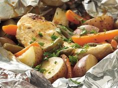 With chicken, vegetables and gravy, this dinner on the grill is loaded with fabulous down-home flavor.