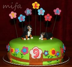 Two Bernese Mountain Dogs on a Flower Cake — Children's Birthday Cakes