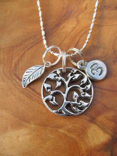 Tree of Life, Om and Leaf Charm Necklace - Yoga, Yoga Jewelry, Buddha, Buddhism, Zen, Spiritual, Namaste. $18.00, via Etsy.