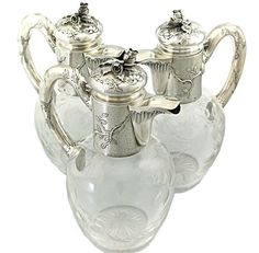 ART NOUVEAU ANTIQUE FRENCH STERLING SILVER CLARET JUG WINE DECANTER BACCARAT 3PC