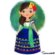 Imagen de Tabasco, cute, dress, creative, watercolor, art, México, colorful and tradition