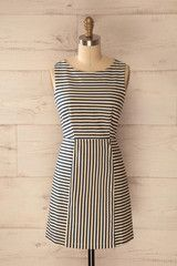 Asterholma - Cream and navy stripes fitted dress
