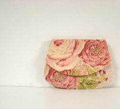 25 off THANK YOU SALE  Pink rose  Flat linen pouch by tamamikobag, $20.00