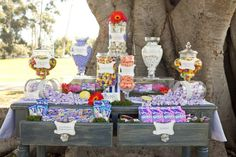 A {Colorful} Willy Wonka Party from Siegel Thurston Photography Willy Wonka, Charlie And The Chocolate Factory Party, Dessert Buffet Table, Candy Table, Candy Buffet, Buffet Tables, Birthday Party Themes, Girl Birthday, Wedding Sweets