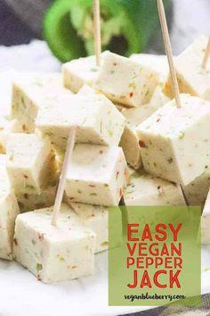 Vegan Pepper Jack Cheese that will blow your mind! Vegan Pepper Jack Cheese that will blow your mind! Healthy Vegan Snacks, Vegan Appetizers, Vegan Foods, Vegan Dishes, Paleo, Vegan Sauces, Best Vegan Cheese, Vegan Cheese Recipes, Dairy Free Cheese
