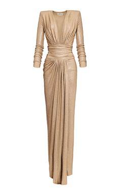 Shop V-Neck Lurex Maxi Dress. Alexandre Vauthier's lurex dress is designed with a deep v-neckline and a cinched waistline. Elegant Dresses, Pretty Dresses, Beautiful Dresses, Formal Dresses, Women's Dresses, Ny Dress, Mode Outfits, Classy Dress, Designer Dresses