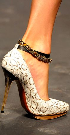 Snake Print Stiletto Heel from Lanvin, structured detailing, softly pointed toe and buckled front strap Fab Shoes, Crazy Shoes, Cute Shoes, Me Too Shoes, Lanvin, Zapatos Shoes, Shoes Heels, Pumps, Stilettos