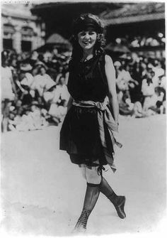 "It wasn't long before the bathing gown parades turned into beauty pageants. In fact, Miss America started as a bathing pageant and took place in Atlantic City in 1921. Here is the winner, the ""Most Beautiful Bathing Girl in America,"" Margaret Gorman, as photographed by Bain News Service."