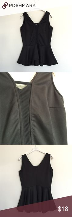 Black peplum tank mesh front medium So classy and sexy! Mesh see through material down the front. Peplum waist and V Back. Excellent condition. Size medium but runs small. Bundle to save 25%! Tops