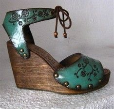 Clog Shoe Emerald Green Tooled Leather Floral Wooden by karenkell, $210.94