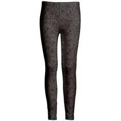 Azalea Gray & Black Floral Leggings (€11) ❤ liked on Polyvore featuring pants, leggings, patterned pants, patterned leggings, colorful print leggings, grey leggings and floral print leggings
