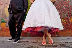 Love the polka dot skirt details   Retro Wedding | OneWed