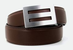 A new kind of belt for men - perfect fit with no holes. Shown; intrepid buckle with brown belt. Shop @ http://www.KoreEssentials.com