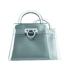 1990: The 'Gancino' bag, Ferragamo's most famous bag, created in different materials: here in plexiglass.