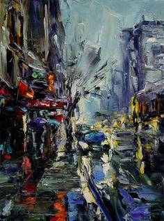 "Lyudmila Agrich at Mirada Fine Art, 'City Etude,' Original Oil on Canvas, 16"" x 12"".  Available at Mirada Fine Art."