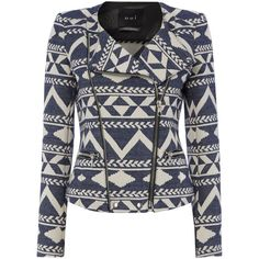 Oui Aztec print biker jacket ($87) ❤ liked on Polyvore featuring outerwear, jackets, blue, tops, clearance, cotton zip jacket, waterproof motorcycle jacket, water proof jacket, biker jacket and blue moto jacket