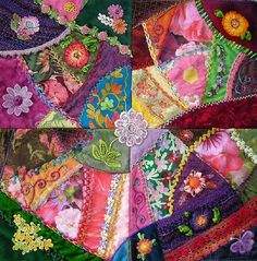 """I ❤ crazy quilting, embroidery  ribbon embroidery . . . Block Surgeries, and 16 inch Sampler Finished! Before I could complete my 16"""" Sampler, it needed to go """"under the knife""""...and also have some cosmetic surgery as well. ~By Allie Aller"""