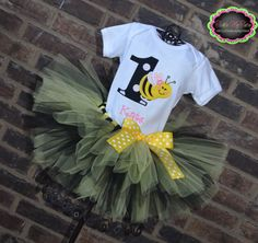 It's My BEEday Bumble Bee Themed BIrthday Tutu by TickleMyTutu, $49.95