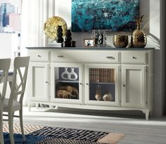Fontana Collection, Solid Wood Sideboard With Glass Doors and Drawers, White/Blue Combination, Choice of Finish Options - See more at: https://www.trendy-products.co.uk/product.php/8732/fontana_collection__solid_wood_sideboard_with_glass_doors_and_drawers__white_blue_combination__choice_of_finish_options______#sthash.wBLBI8VI.dpuf
