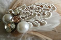 PEACHES AND CREAM Fascinator by PompAndPlumage on Etsy