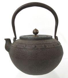1800s Edo Meiji Chado Sado Drum Taiko Tetsubin Iron Kettle Pot Tea Ceremony Yqz | eBay