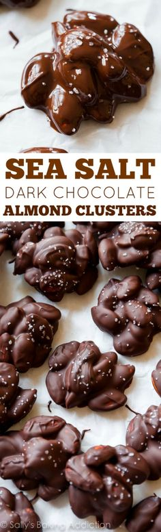Salt Dark Chocolate Almond Clusters Just 4 ingredients in these addicting clusters. Toasting the almonds turns them up a notch! Recipe on Just 4 ingredients in these addicting clusters. Toasting the almonds turns them up a notch! Low Carb Desserts, Just Desserts, Finger Desserts, Xmas Desserts, Candy Recipes, Dessert Recipes, Holiday Recipes, Appetizer Recipes, Salad Recipes