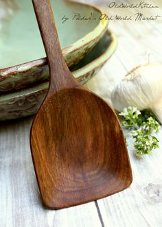 I very badly need this!   Wooden Spoon Serving Spoon La Bella Vita by OldWorldKitchen, $35.00