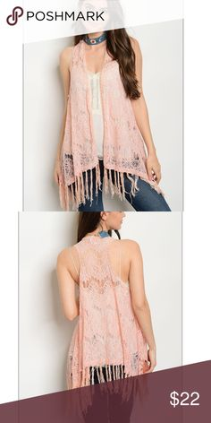 """Crochet Lace Fringe Vest/❤️Coming 🔜 Open front sleeveless vest. -Fringed -Lightweight   100% Polyester  Size Small: L:31"""" B:40"""" W:52""""  🚫Trades✅Bundle and save Fresh Fashion Boutigue Jackets & Coats Vests"""