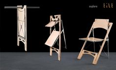 Folditure's Tilt folding chair -- a wooden structure that folds extremely flat and compact, with metal details and a built-in hanger for easy storage.