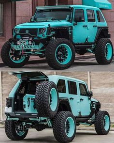 A collection of customized jeeps that I find cool and interesting. Blue Jeep Wrangler, Jeep Rubicon, Jeep Wrangler Unlimited, Jeep Wrangler Custom, Jeep Wranglers, Jeep 4x4, Jeep Truck, Badass Jeep, Jeep Mods