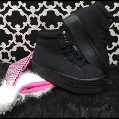 """Selling this """"LISTING Jeffrey Campbell Black Hi Tops Sneakers"""" in my Poshmark closet! My username is: cindyciara. #shopmycloset #poshmark #fashion #shopping #style #forsale #Jeffrey Campbell #Shoes"""