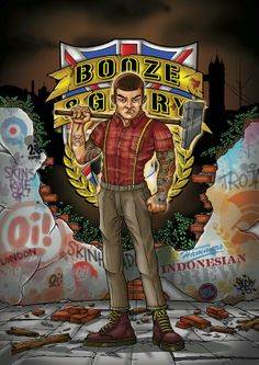 Artwork done for Booze Glory official tshirt Chelsea C, Pop Up, Skinhead Fashion, Rude Boy, Rocker, Motif Design, Punk Art, Weird And Wonderful, Punk Rock