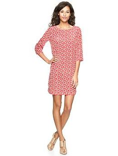 Printed three-quarter sleeve dress | Gap  For the crazy cat lady with style...