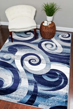 Navy Blue Swirls Abstract Contemporary Area Rugs