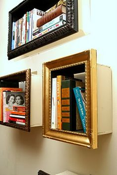 OLD WOODEN DRAWERS OR BOXES + SOME OLD FRAMES + PAINT = BOOKSHELVES